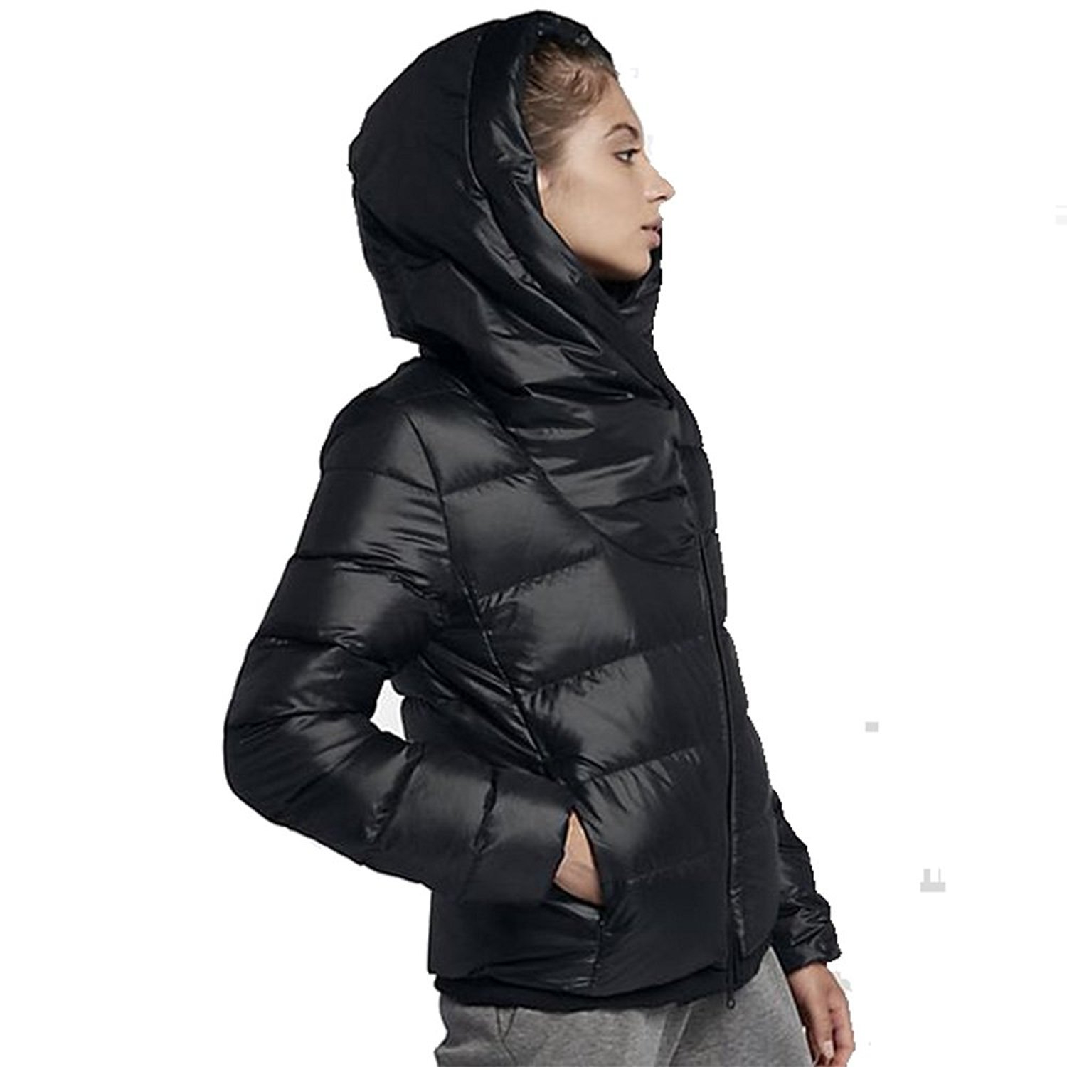 9d59484b76e0 NIKE Women s Sportswear Puffer Down Jacket Black Cool Grey 854767 ...