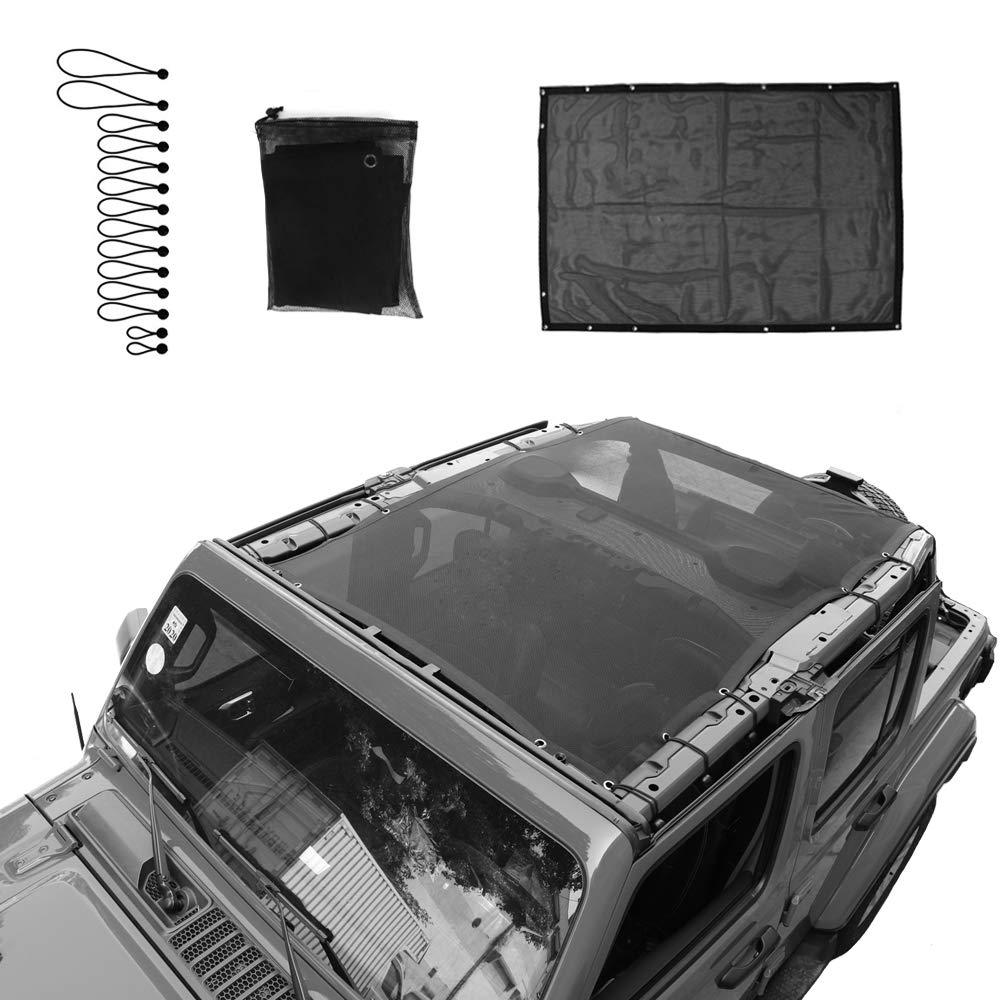 Micephon Jeep Wrangler JL JLU Sunshade Net for Jeep Wrangler JL JLU 4 Door 2018-2019