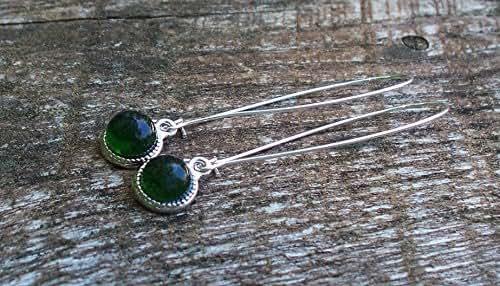 Recycled Vintage Olive Green Wine Bottle Long Drop Charm Earrings