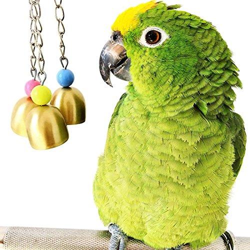 NPLE--1X New Parrot Bird Toy Hanging Metallic Swing Bells Parakeet Budgie Playing tool