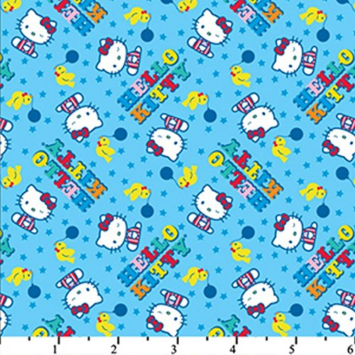 Hello Kitty Big Top Scattered Blue HK-27 100% Cotton Fabric Quilt Prints 44/45