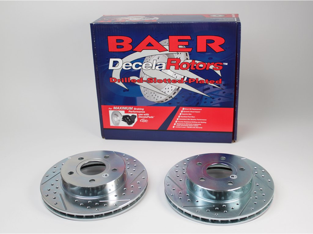 BAER 34220-020 Sport Rotors Slotted Drilled Zinc Plated Rear Brake Rotor Set Pair