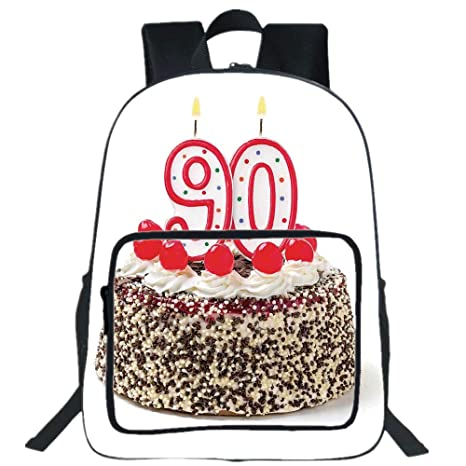IPrint 19quot Large Casual Backpack90th Birthday DecorationsBirthday Cake With Cherries Burning
