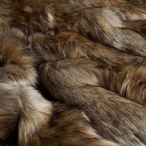 Wolf Webpelz - edles Fellimitat mit Wolf Dessin - PRO 10 CM (beige/braun)