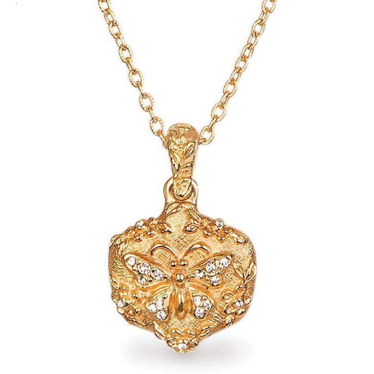 Jay Strongwater Gilded Butterfly 18K Gold Pendant with Clear Swarovski Crystals