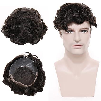 toupet Hombres 100% real indio pelo peluca fina punta piel Francés con PU 53 g