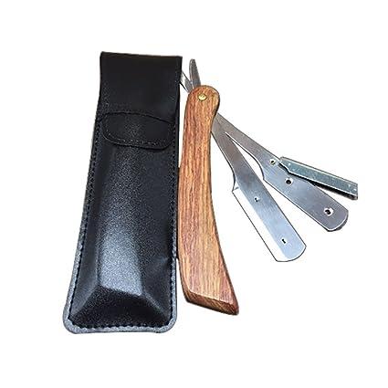 LEYIJU Flor de madera de pera máquina de afeitar titular navaja, navaja profesional navaja cuchillo