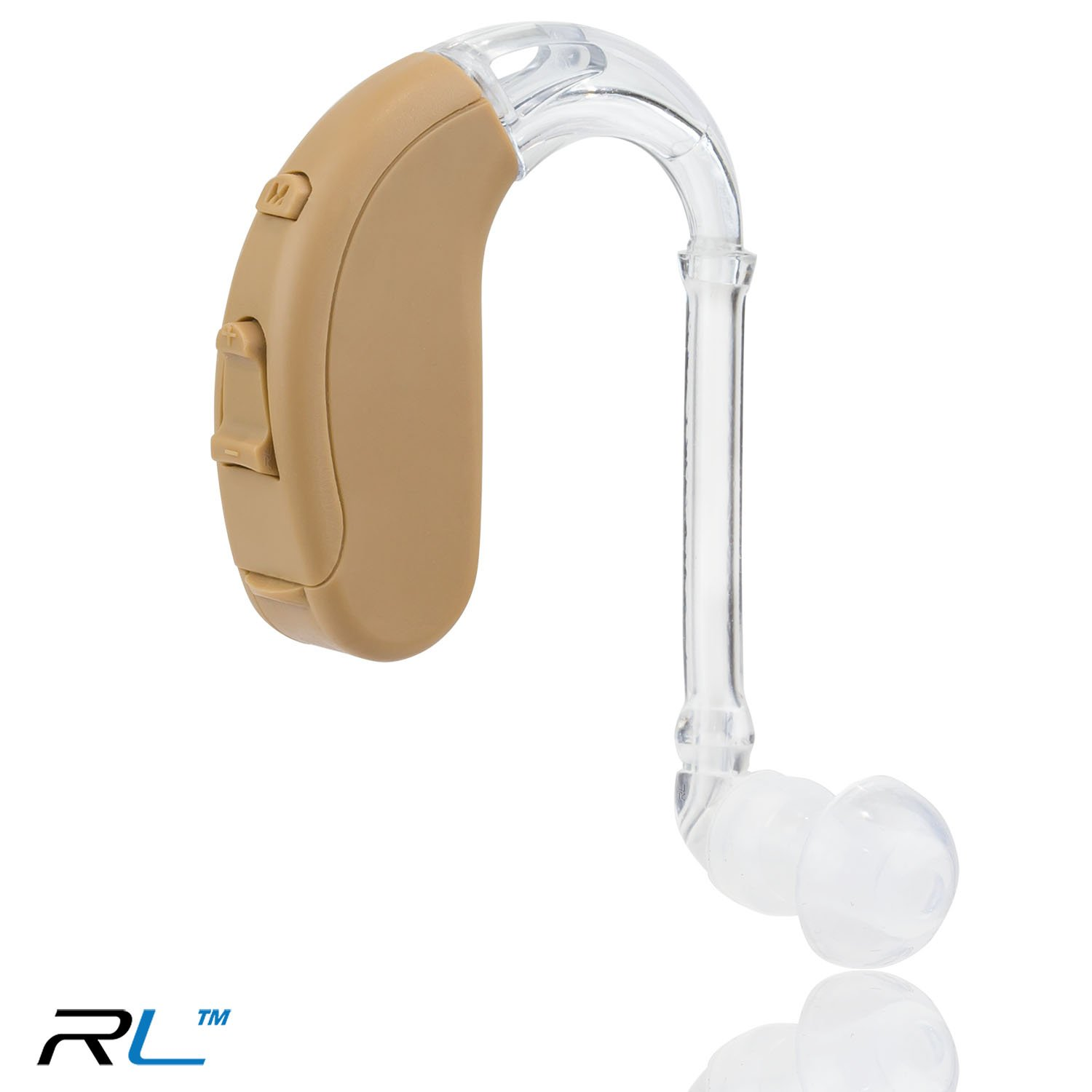 R&L Hearing Amplifiers 18A, Digital Sound Amplifer Device PSAP, Aid for Adults and Seniors, 10 Days of Battery Life (Beige)