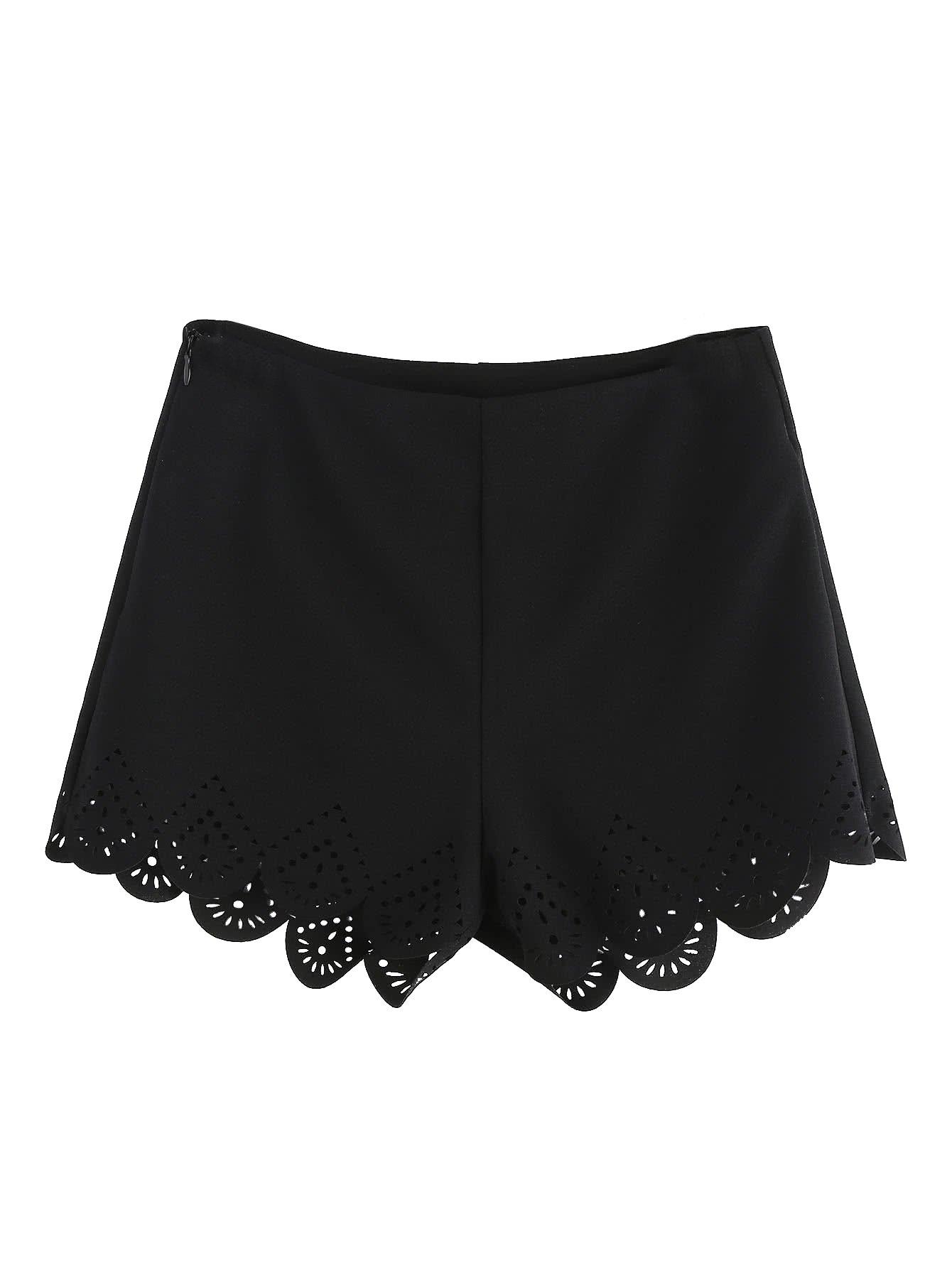 Floerns Women's Summer Mid Waist Zip Scallop Hem Shorts Black S