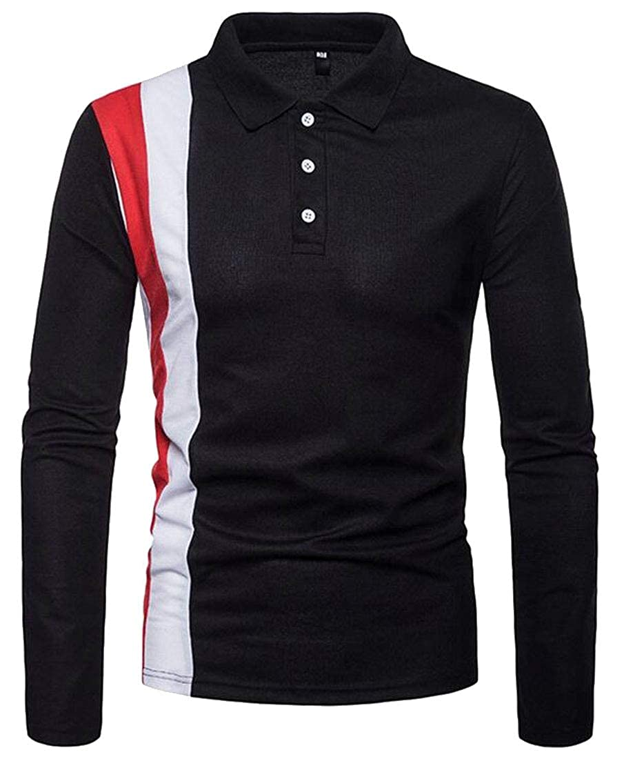 WSPLYSPJY Mens Perfect Slim Long Sleeve Color Block Soft Fitted Polo Shirt