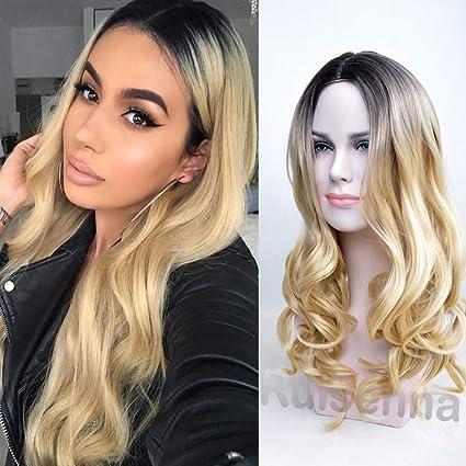 RUISENNA Ombre Blonde Glueless pelucas 2 tonos de color de onda larga Peluca de pelo 100