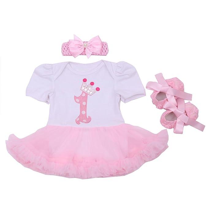 BabyPreg® primero de los bebés del patrón del tutú del cumpleaños de la corona vestido
