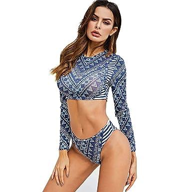 Amazon.com: shiyingl Women Push Up Swimsuit Long Sleeve High ...