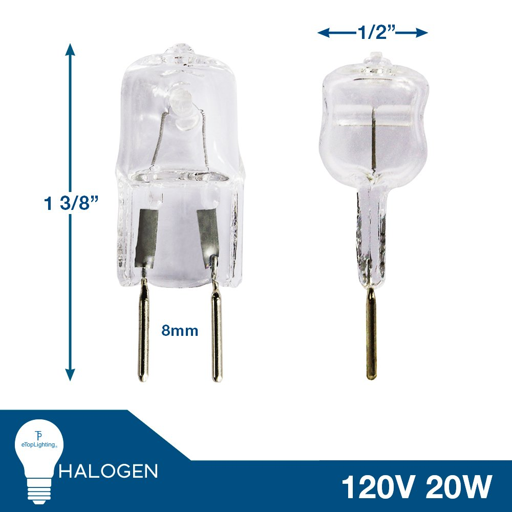 eTopLighting 2 Pack 20W Halogen Bi Pin Bulb G8 Base 110 130 Volt 20W JCD Type Light Bulb 2XG8 120V 20W