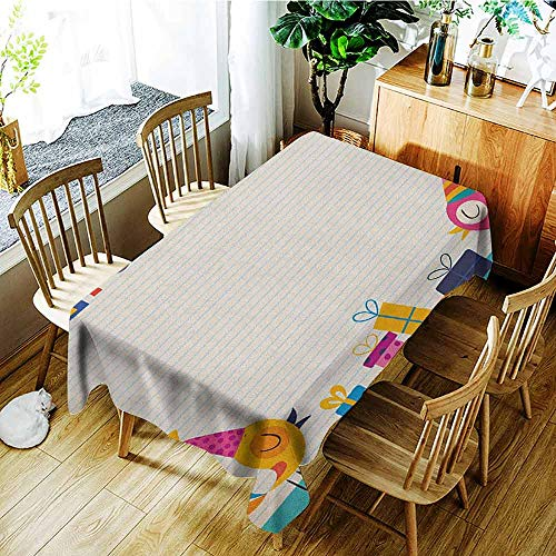 (XXANS Waterproof Table Cover,Kids Birthday,Cartoon Colorful Image Party Birds with Cones Surprise Boxes Fun Happiness,Party Decorations Table Cover Cloth,W50x80L Multicolor)