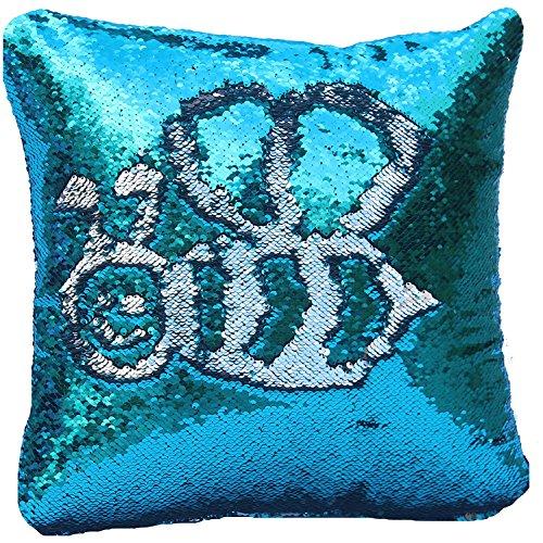 Tiaronics Magic Reversible Sequins Mermaid Pillow Cases Throw Pillow CoversDecorative Pillowcase 4040cm(1616) (Blue/Silver)