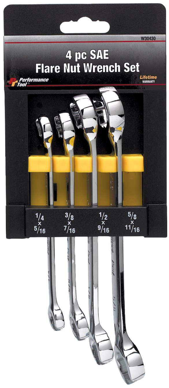 Performance Tool W30430 SAE Flare Nut Wrench, 4-Piece