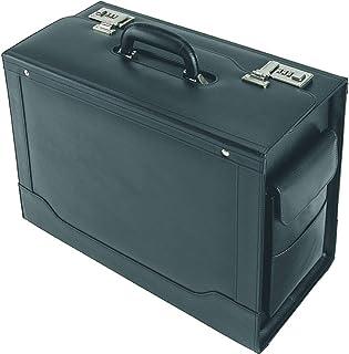 Alassio Pilotenkoffer Ancona, Aktenkoffer aus echtem Leder, Handgepäck Dokumentenkoffer mit Hängeregister Koffer, 45 cm, 32 Liter, Schwarz