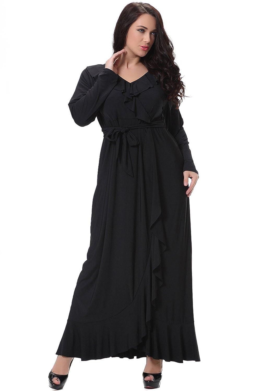 Zumeet Women Plus Size Long Waist Fastening Maxi Dress Black at Amazon  Women s Clothing store  d69066834