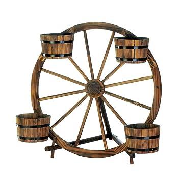 Amazon.com: Wagon rueda macetero, diseño de barril ...