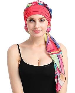 Amorar Mujeres Chemo Sombrero Slouch Beanie Chiffon Head Bufanda Delgado Turbante Headwear Skull Cap