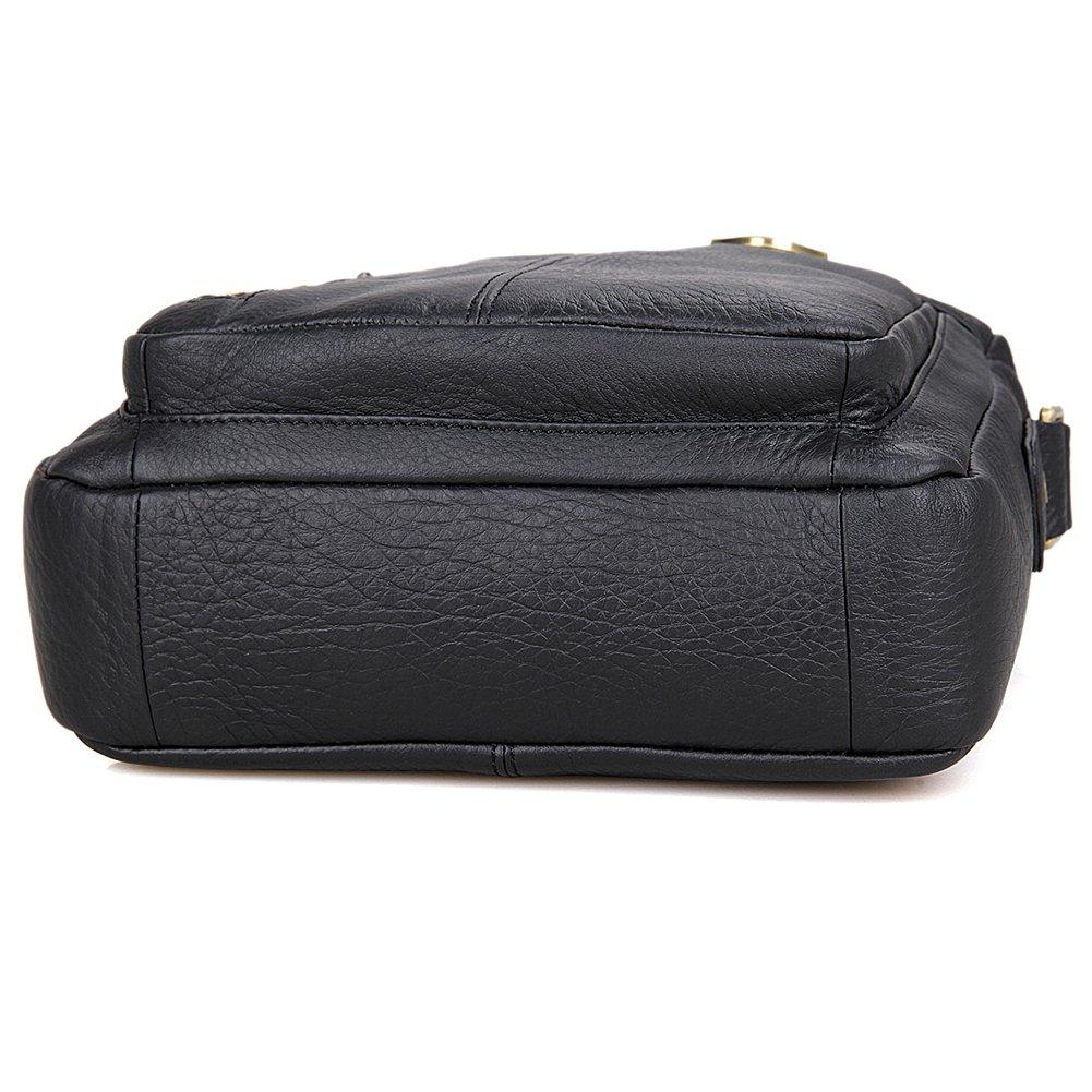 Genda 2Archer Mens Leisure Travel Leather Small Crossbody Messenger Shoulder Bag Black