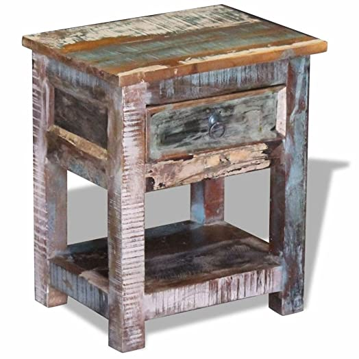 vidaXL Solid Reclaimed Wood Side End Table Storage Cabinet Nightstand 1 Drawer