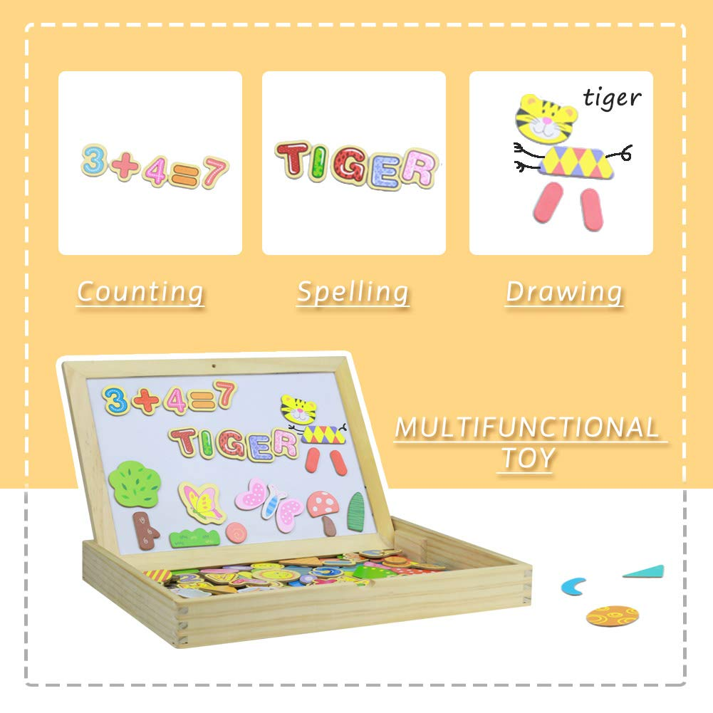 Fajiabao Wooden Toys Double Side Drawing Writing Board Magnetic Puzzle Game Set
