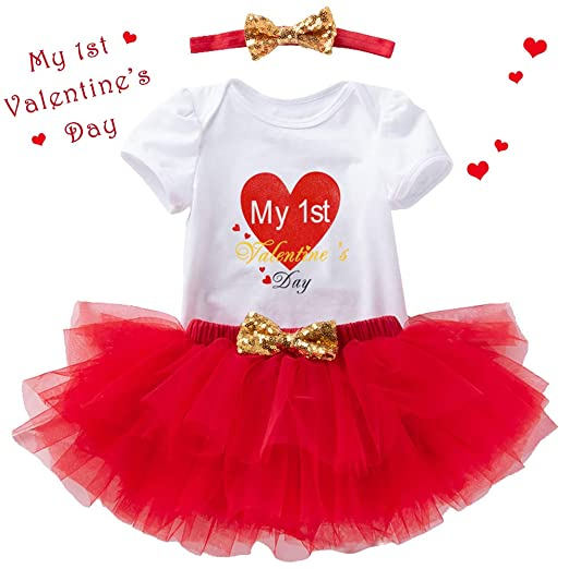 56b4ec5951efd Baby Girl First Valentines Day Outfit – Red Romper Skirt Set with Headband  for Infant Newborn