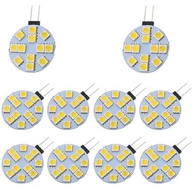 Ei-home 10pcs LED haute Bright Side Pin G4Bumb, 5050–12smd 3W DC 12V Blanc Chaud 3000K Ampoule à LED pour la lecture, voiture, Marine, RV, Cabinet, éclairage décoratif.