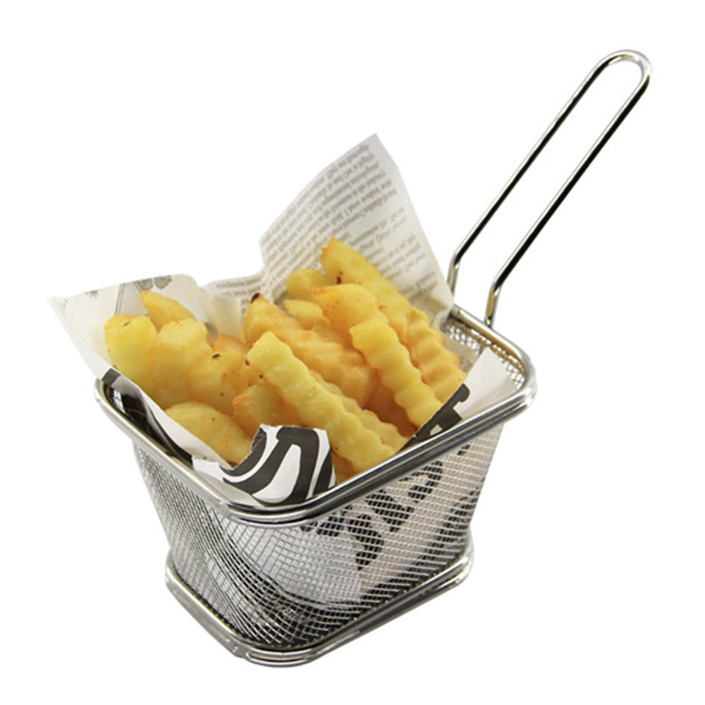 MyLifeUNIT Mini French Fry Basket Commercial, Stainless Steel Fryer Basket with Handle, 5 inch