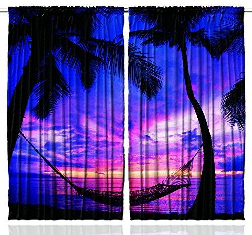 Tropical Island Decor (Purple Curtains Beach Decor by Ambesonne, Palm Trees Comfy Hammock at Night Tropical Island Honeymoon Vacation Ocean Hot Hawaiian Lagoon Art Prints, Bedroom Living Room, 2 Panels Set, Blue Fuchsia)