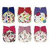 EcoAble Baby One Size Cloth Diapers Lot with Bamboo Inserts, All In One AIO, 6 Pack Bundle Set (Girl)
