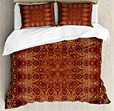 Twin Size Antique 4 piece Duvet Cover Set Bedspread, Vintage Lacy Persian Arabic Pattern from Ottoman Empire Palace Carpet Style Art, 4pcs Bedding Set for Kids/Childrens/Adults Decor, Orange Brown