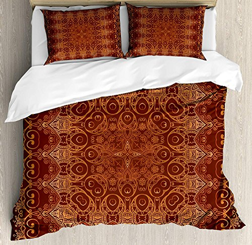 Antique 4 Pieces Bedding Set Twin, Vintage Lacy Persian Arabic Pattern from Ottoman Empire Palace Carpet Style Art, Duvet Cover Set Decorative Bedspread for Childrens/Kids/Teens/Adults, Orange Brown by TweetyBed