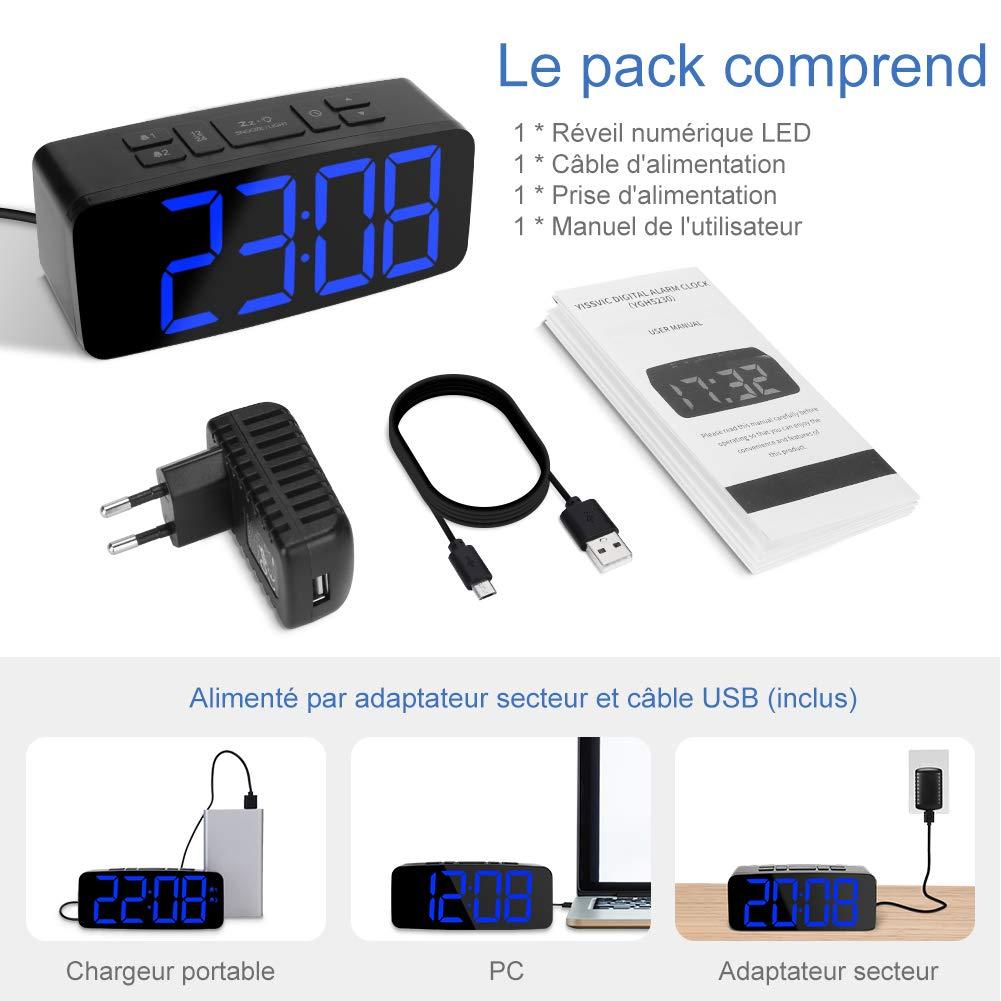 YISSVIC Despertador Digital LED Despertador Digital equip/é de 2/alarmas funci/ón Snooze luminosidad Ajustable en 6/Niveles tama/ños 12//24/Horas Version 2019