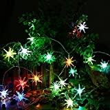 (US) Icicle Battery Christmas String Lights, 10.5 ft 20 LED Auto Time StarburstLights , Battery Powered String Lighting with 7 Color Slowly Flashing Mode for Indoor Outdoor Decorations (Multi Color)