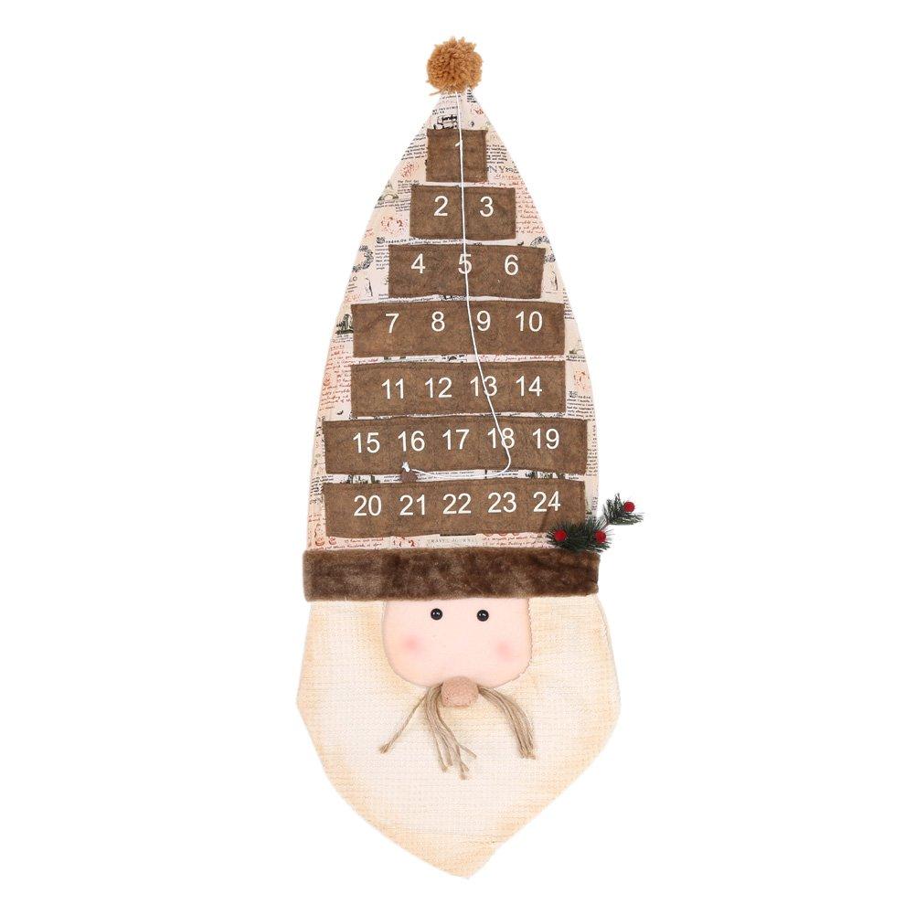 Zerodis Christmas 24 Day Hanging Cloth Calendario dell'Avvento Festival Conto alla rovescia Porta Decorazioni per la casa per la festa in casa(Babbo Natale)