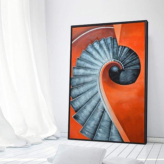 Mural de pared Murales murales de sala de estar Pintura decorativa del dormitorio _ Pintura decorativa nórdica moderna escalera de caracol moderna minimalista dormitorio@Figura 1_Marco de fotos clásico negro de 50X70 cm: