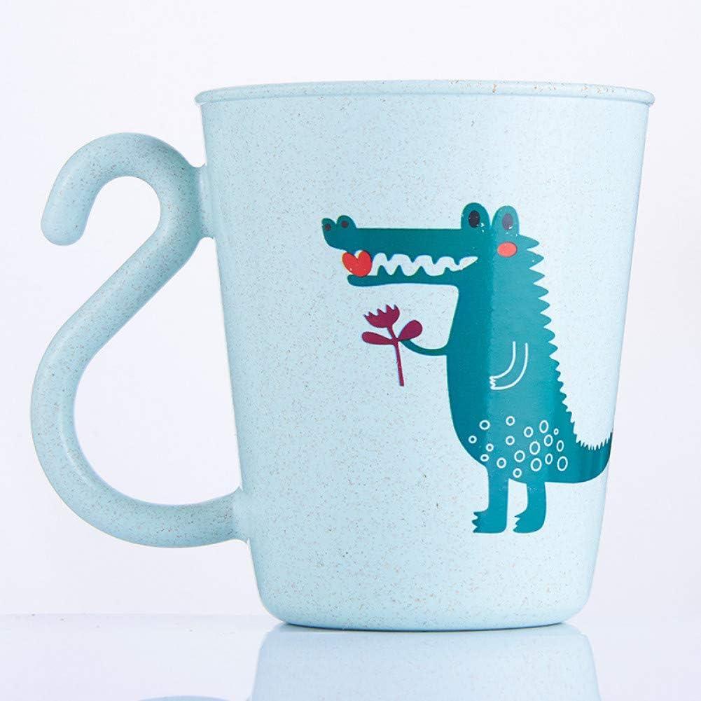 QWERGLL Botella de Agua Trigo Paja Niños Taza De Agua Niños Animal Dinosaurio León Gárgaras Vaso De Plástico Beber Vasos