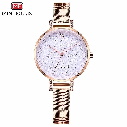 HWCOO Relojes de pulsera MINI FOCUS/reloj de mujer de moda/movimiento japonés/impermeable/malla de metal correa/Europa y los Estados Unidos venta caliente ...