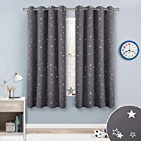 RYB HOME Silver Star Foil Printed Grommet Top Blackout Curtains,52 inch Wide