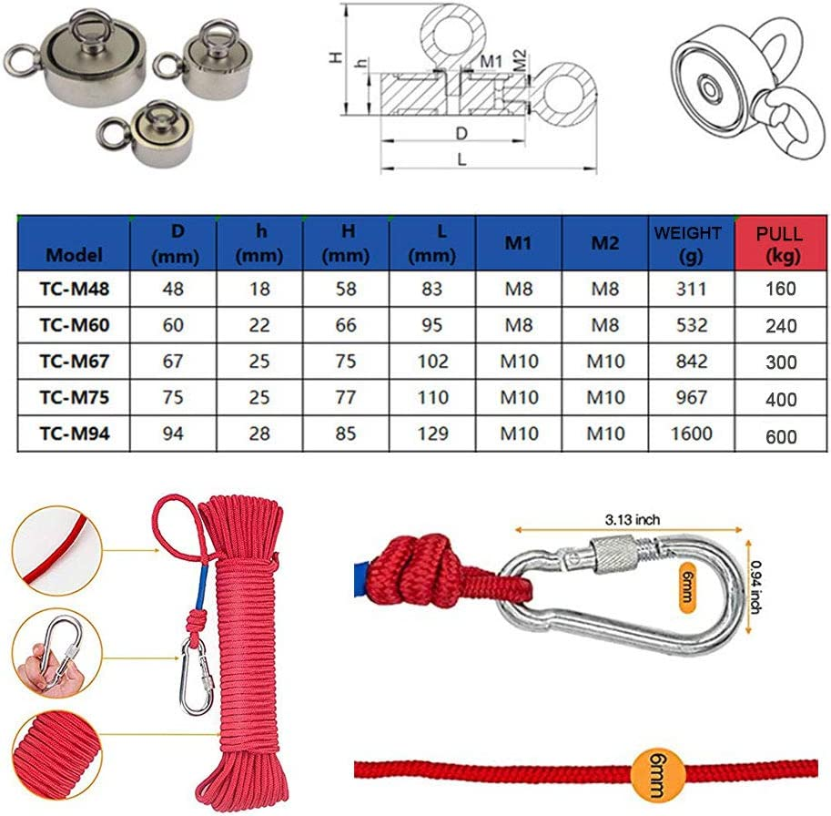 Used for Fishing and Salvage in The River Magnet. Super Pull 600kg//400kg//300kg//240kg//160kg TC-M48 Double-Sided Strong Fishing Magnet with 20m Long Rope and Gloves