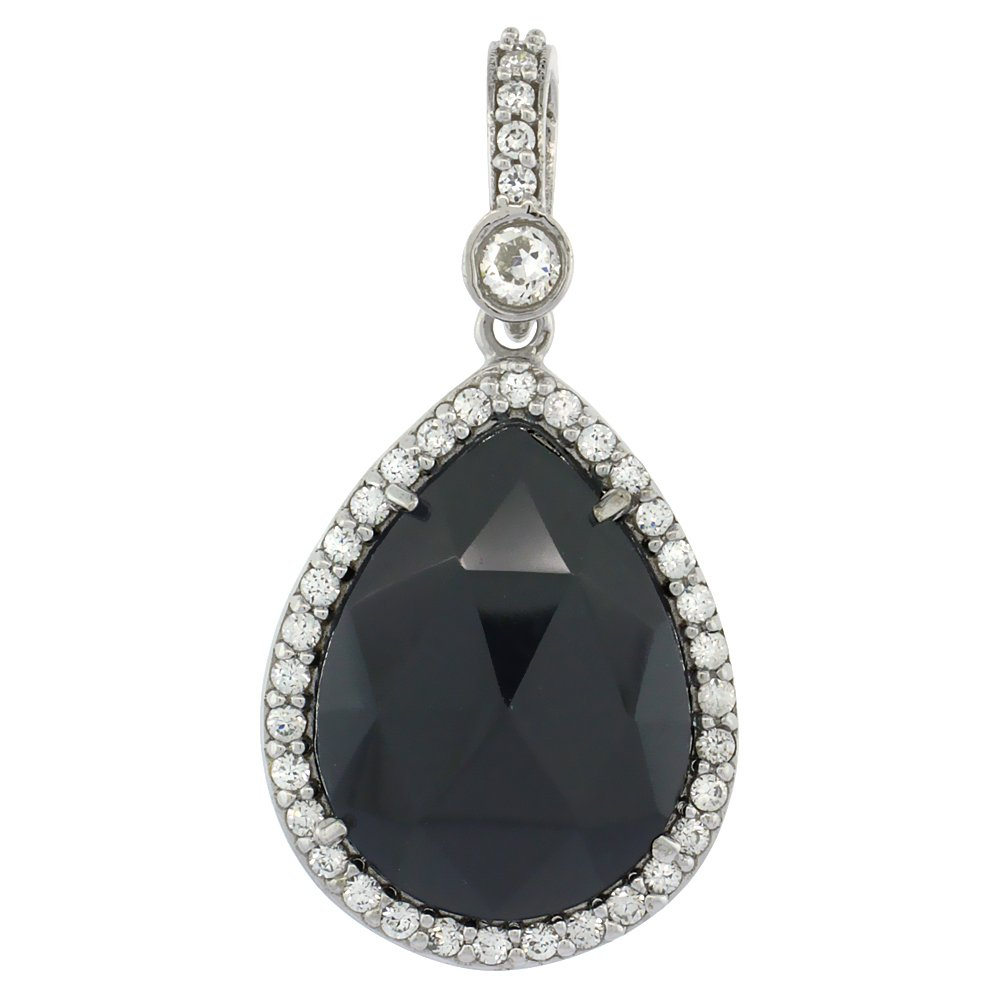 Sterling Silver Natural Onyx Rose Cut CZ Pendant Pear Shape 1 3//16 inch long
