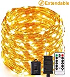 ECOWHO LED Fairy Lights Plug in, End to End Connectable, 66FT 200 LED String Lights Outdoor Waterproof Copper Wire Starry String Lights for Christmas Bedroom DIY Party Wedding Patio
