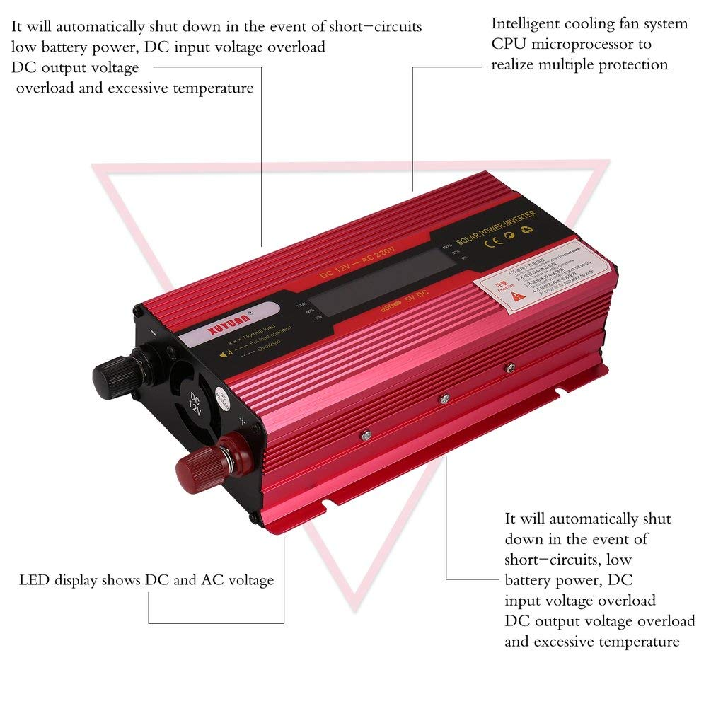 Justdodo Inversor de energ/ía Solar Convertidor de Onda sinusoidal Pura Modificado de 3000 vatios-Rojo-1 Tama/ño