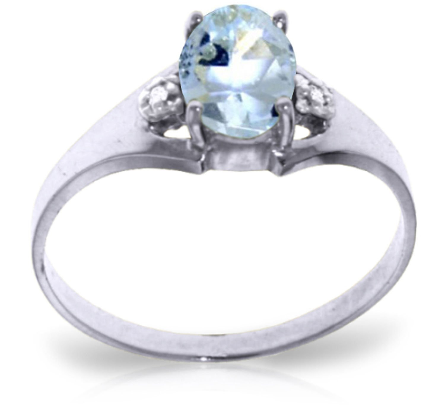 0.76 Carat 14k Solid White Gold Ring with Genuine Diamonds and Natural Oval-shaped Aquamarine - Size 8