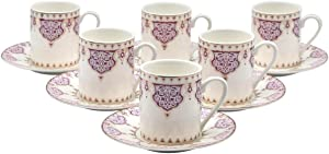 Porcelain Bone China Espresso Turkish Coffee Demitasse Set of 6 Arabesque Pattern Cups + Saucers (Purple)