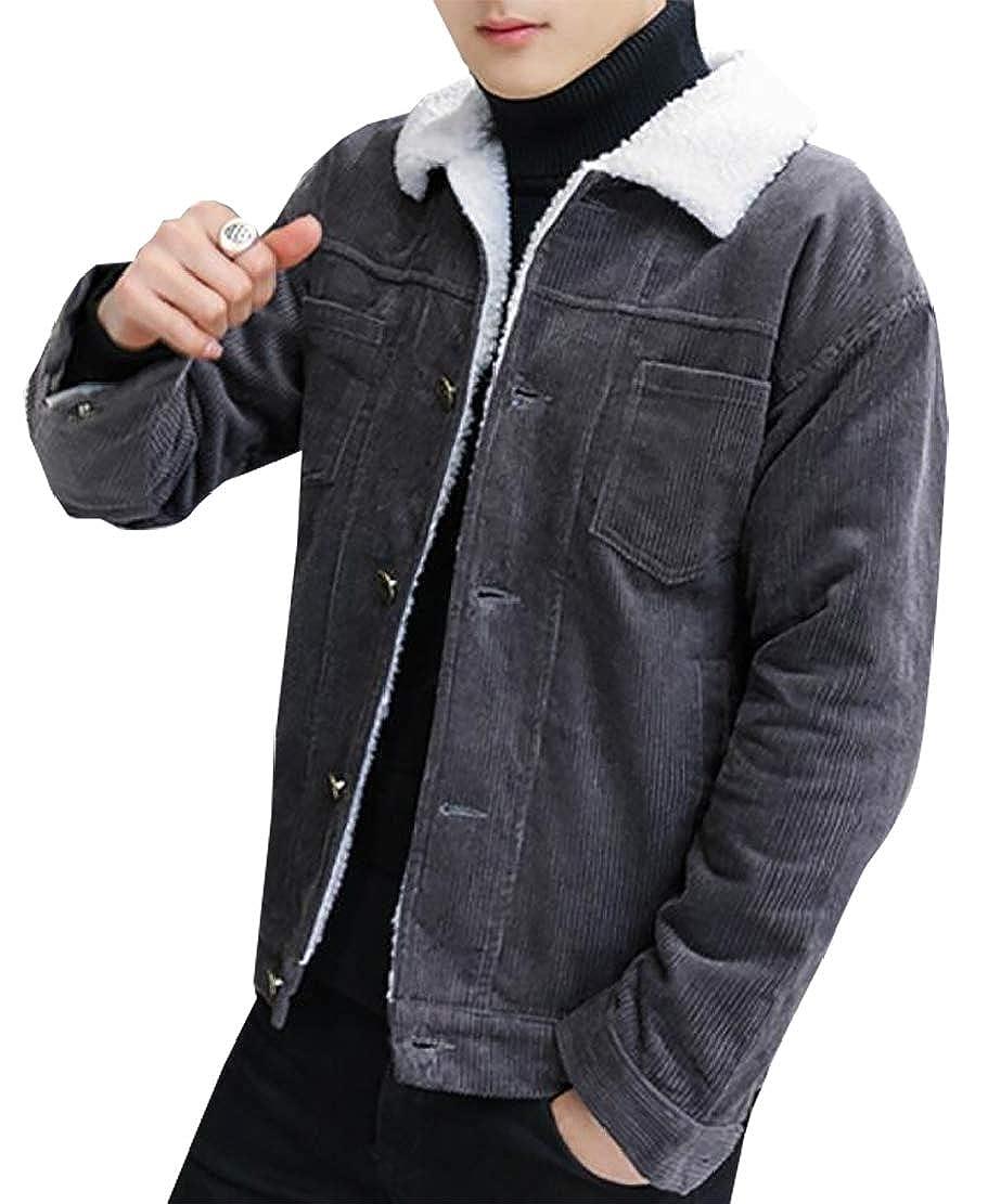 5385bf773d4 cfzsyyw Men s Vintage Long Sleeve Button-Front Slim Fit Corduroy Denim  Jacket Dark Grey XS  Amazon.in  Clothing   Accessories