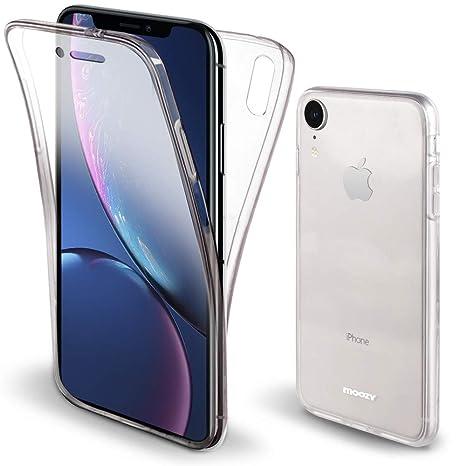 Moozy Funda 360 Grados para iPhone XR Transparente Silicona - Full Body Case Carcasa Protectora Cuerpo Completo